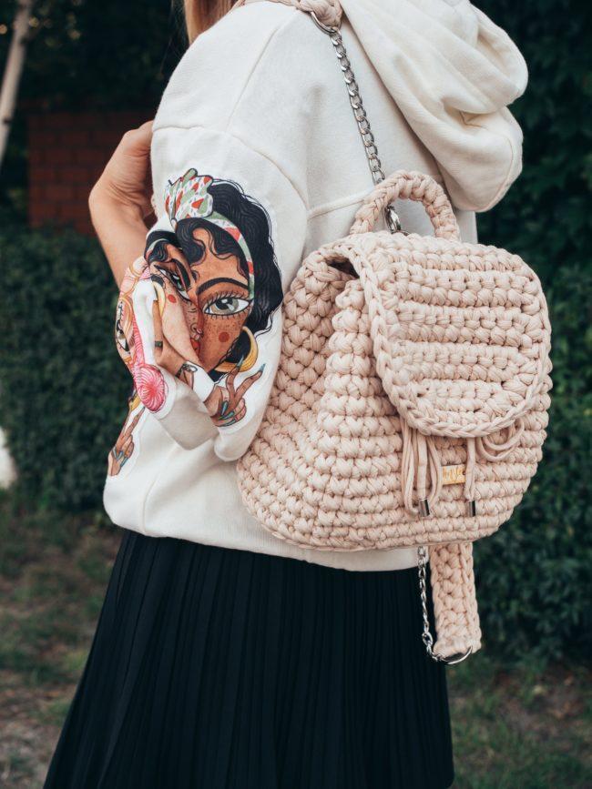 Plecak worek beżowy